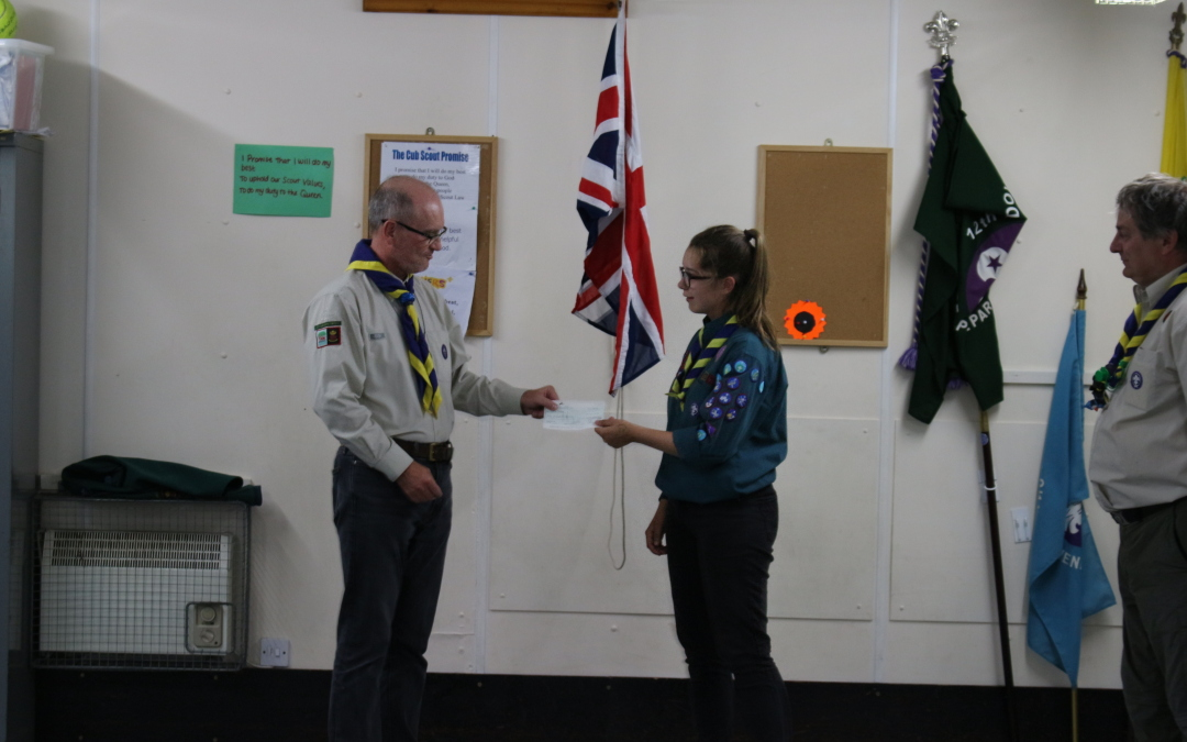 Katie Fettes receives a cheque