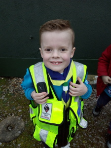 Arlo in safety jacket
