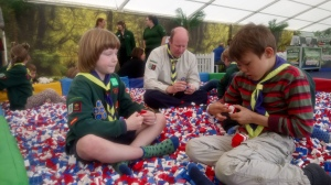 Children playing in the lego pit