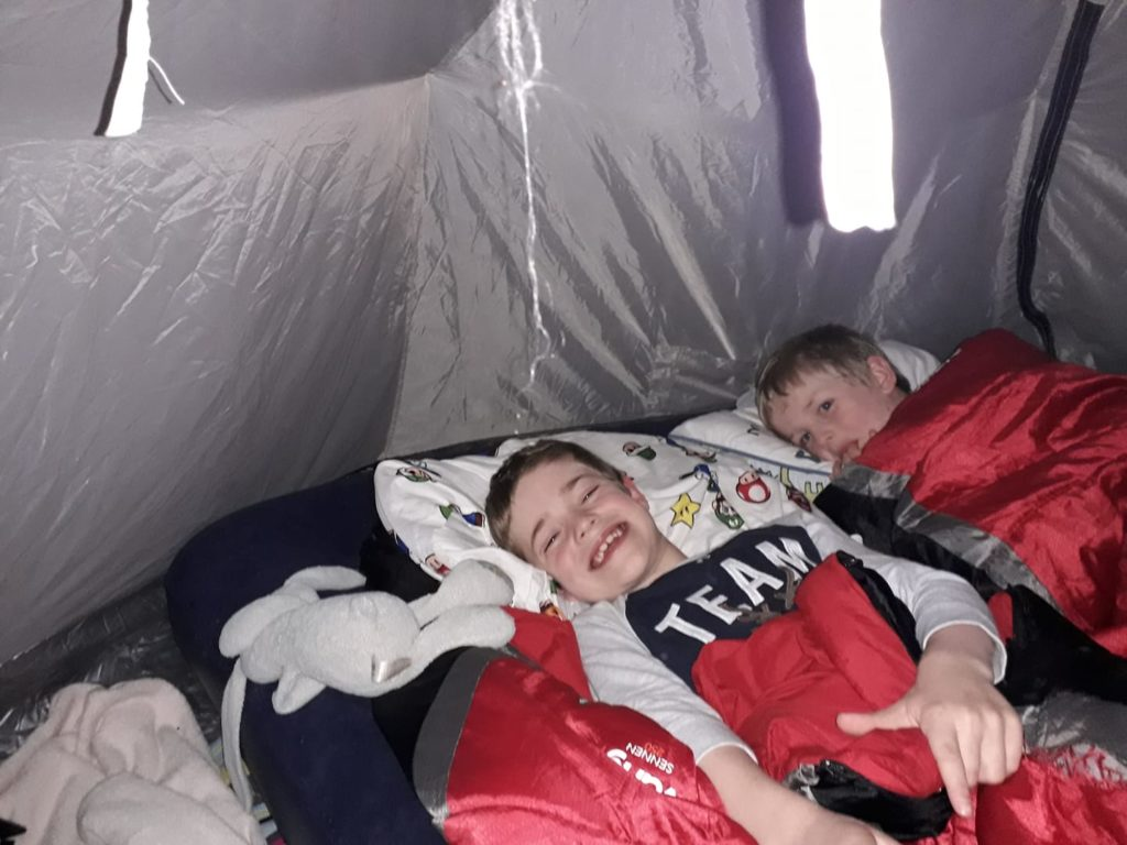 Andrew and Ollie camping